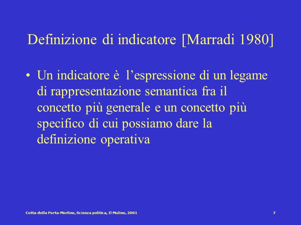 Definizione di indicatore [Marradi 1980]